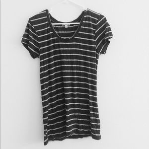 Tops - grey and white striped shirt